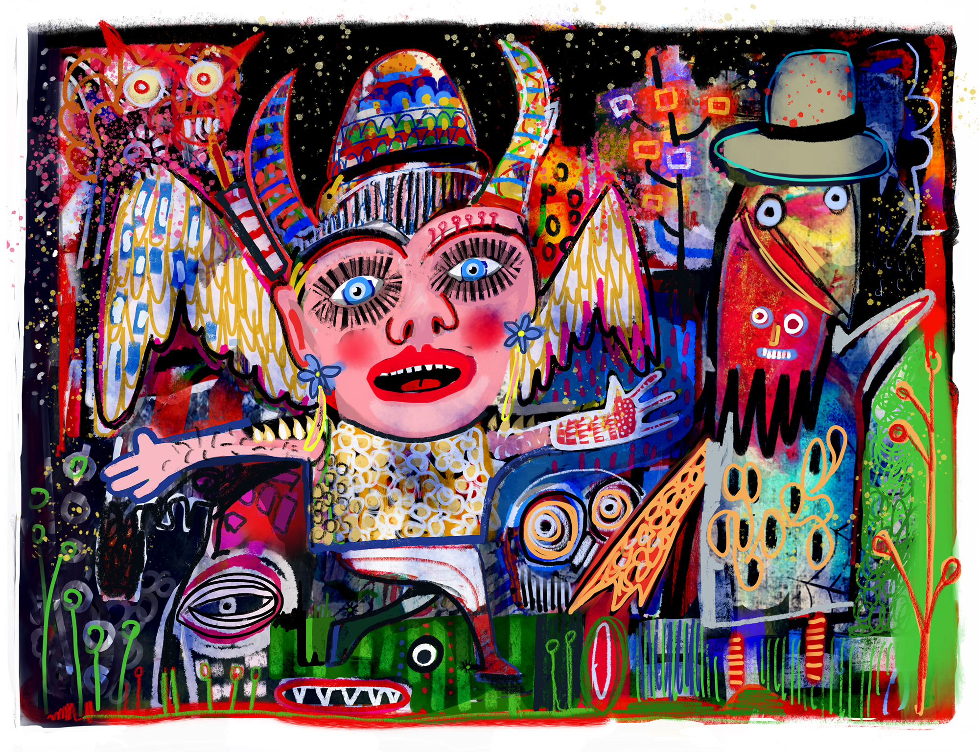 'Angels and Demons' Collaborative Painting made with Jean Carlo Sandy in Cochabamba, Bolivia