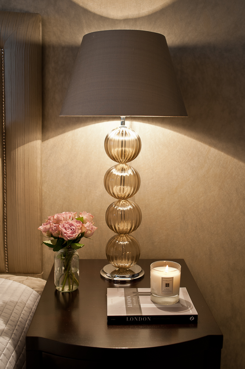 Hand blown glass table lamp.
