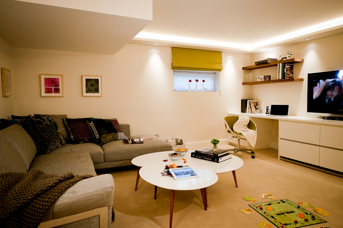 This basement teenage study and TV room is a great space to entertain friends and play games.