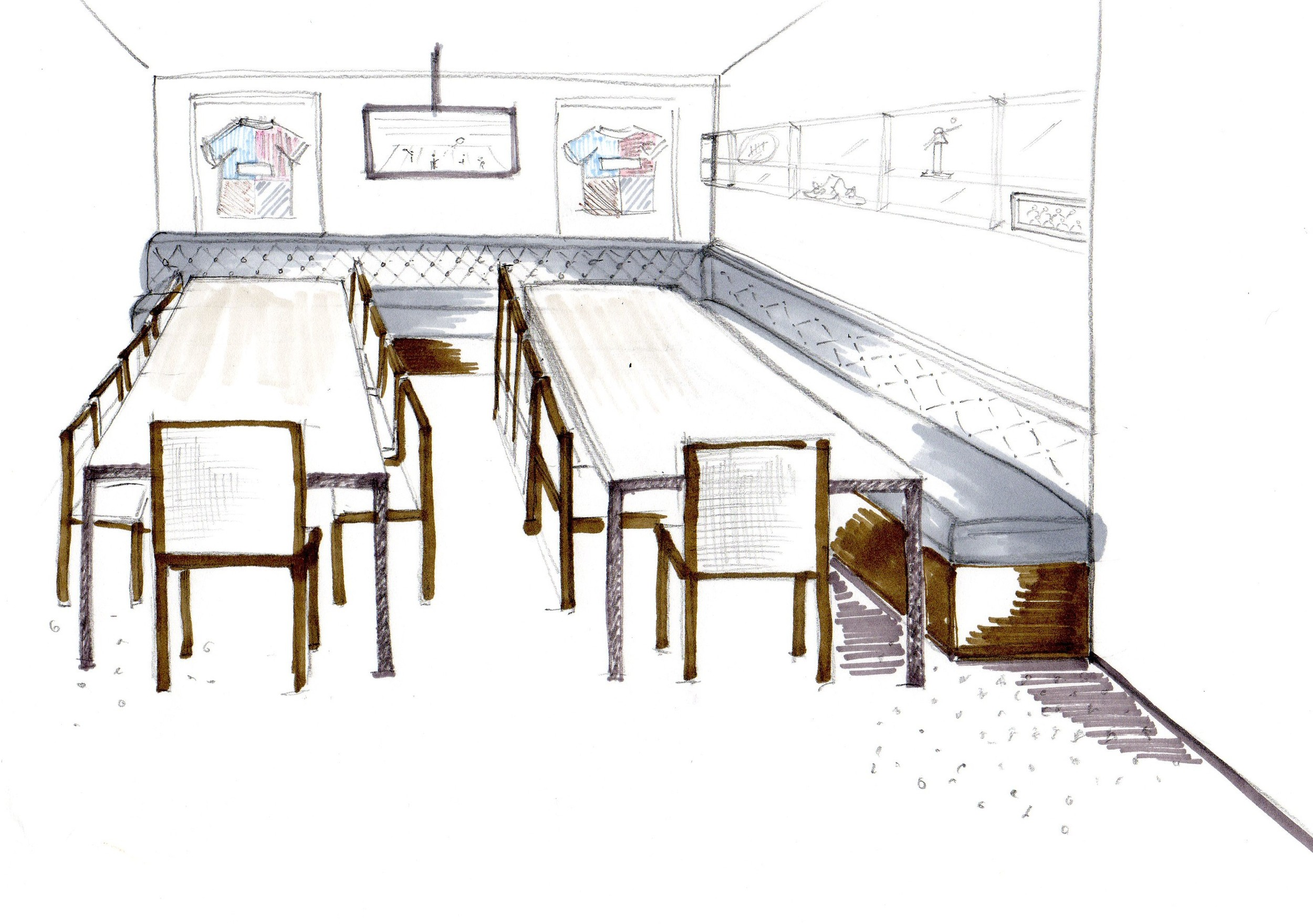 Jason Leonard Lounge dining sketch