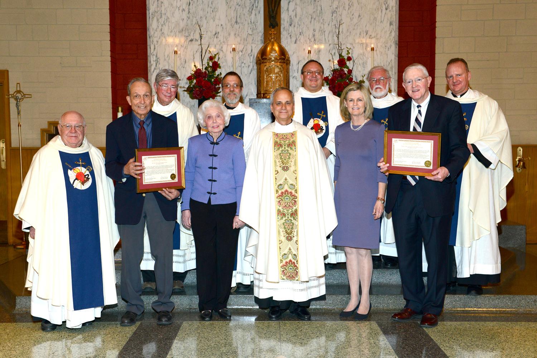 Tulsa, OK:   (from left to right)  Rev. William Perez, O.S.A., Dr. Jack Kauth, M.D., Rev. William Hamill, O.S.A., Mrs. Beverly Kauth, Rev. John Sotak, O.S.A., Most Rev. Robert Prevost, O.S.A., Very Rev. Bernard C. Scianna, O.S.A., ph.D., Dr. phyllis Lauinger, M.D., Rev. roland Follmann, O.S.A., Mr. Anthony Lauinger, and Rev. Martin Laird, O.S.A.