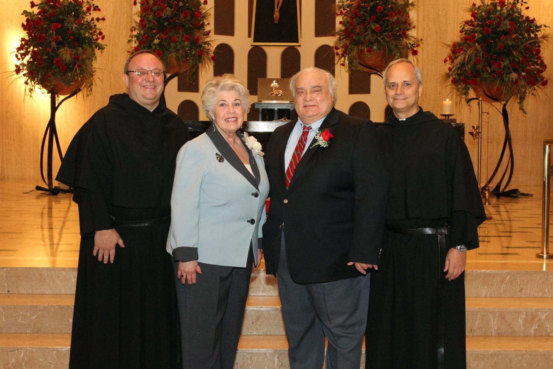 Chicago, IL:   (left to right)  Very Rev. Bernard C. Scianna, O.S.A., Ph.D., Anne Berschback, Ed Schmit, and Most Rev. Robert F. Prevost, O.S.A.