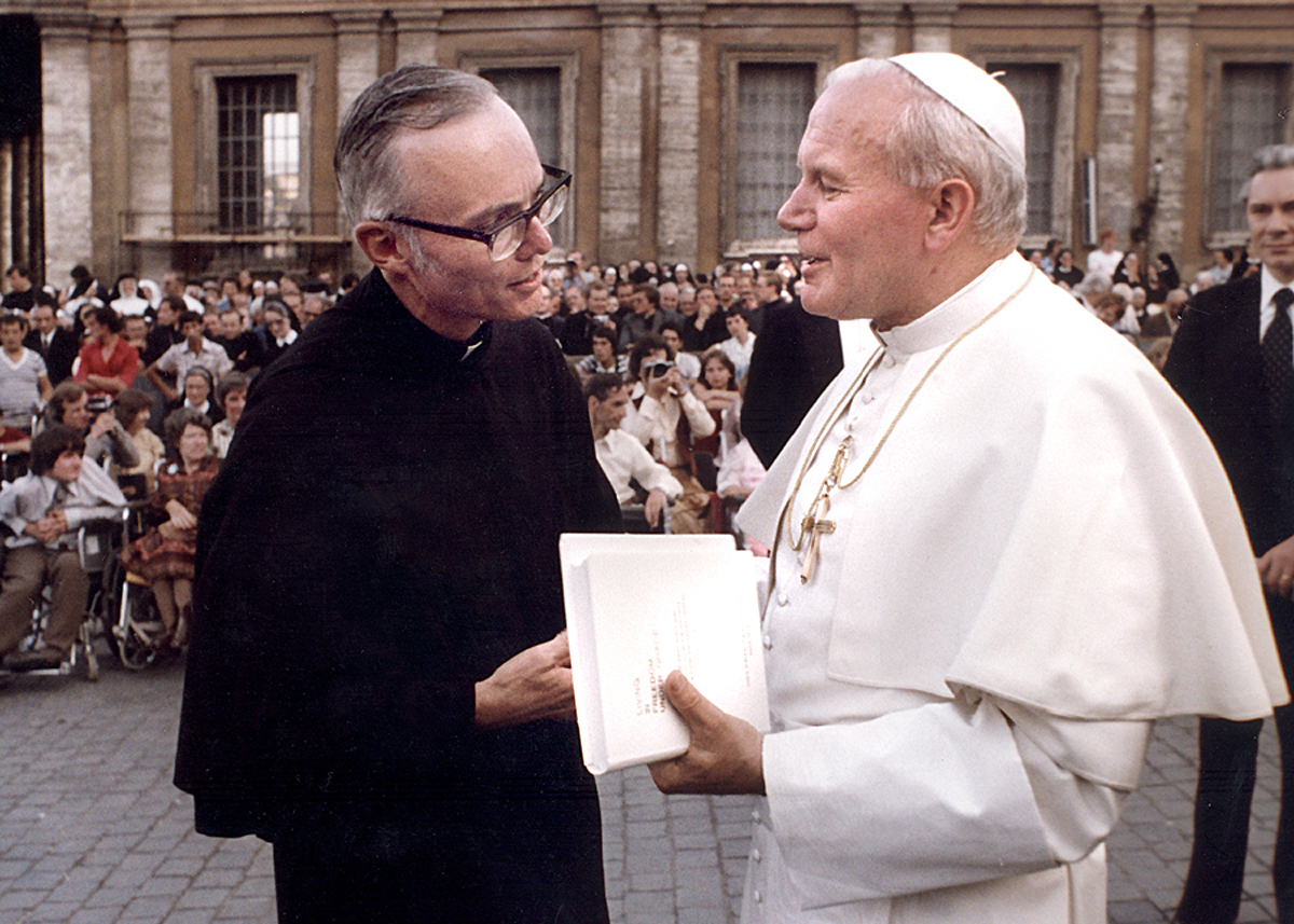 Vatican City:  Prior General Emeritus Ted Tack, O.S.A. with Blessed John Paul ii