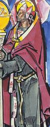 Illustrations of Saints Alypius and Possidius by János Hajnal in Il fascino di Dio: Profili de agiografia agostiniana by Fernando Rojo Martínez, O.S.A. Copyright © 2000 Pubblicazioni Agostiniane Rome. Used with permission. Original art preserved in the Office of Augustinian Postulator of Causes, Rome