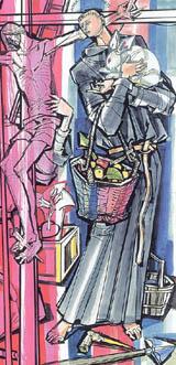 Illustration of Blessed John Bufalari of Rieti by János Hajnal in Il fascino di Dio: Profili de agiografia agostiniana by Fernando Rojo Martínez, O.S.A. Copyright © 2000 Pubblicazioni Agostiniane Rome. Used with permission. Original art preserved in the Office of Augustinian Postulator of Causes, Rome