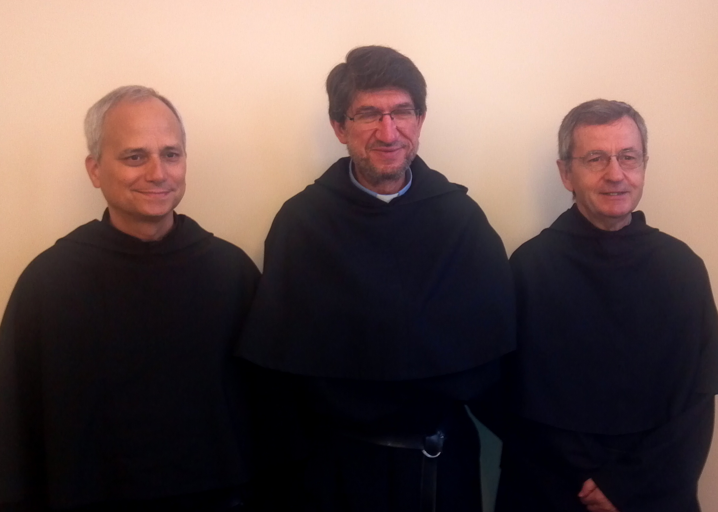 ROME, ITALY  (from left) : Rev. Robert F. Prevost, O.S.A., outgoing Prior General; Most Rev. Alejandro Moral, O.S.A., newly elected Prior General; Rev. Miguel Angel Orcasitas, O.S.A., former Prior General