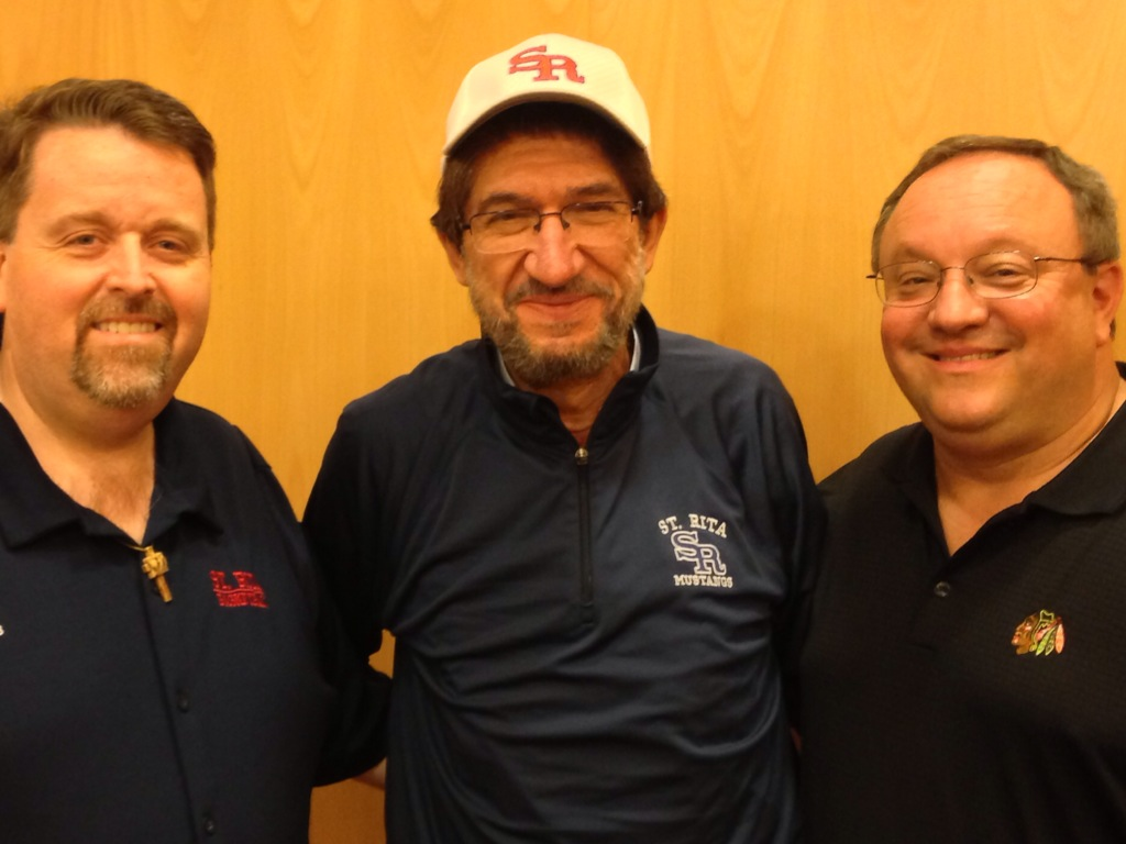 ROME: The Most Rev. Alejandro Moral, O.S.A. (center), Newly elected Prior General, was presented by Fr. Tom McCarthy, O.S.A. (left) and the Very Rev. Bernard C. Scianna, O.S.A., Ph.D. (right) with St. Rita High School apparel at the conclusion of the 2013 Augustinian General Chapter