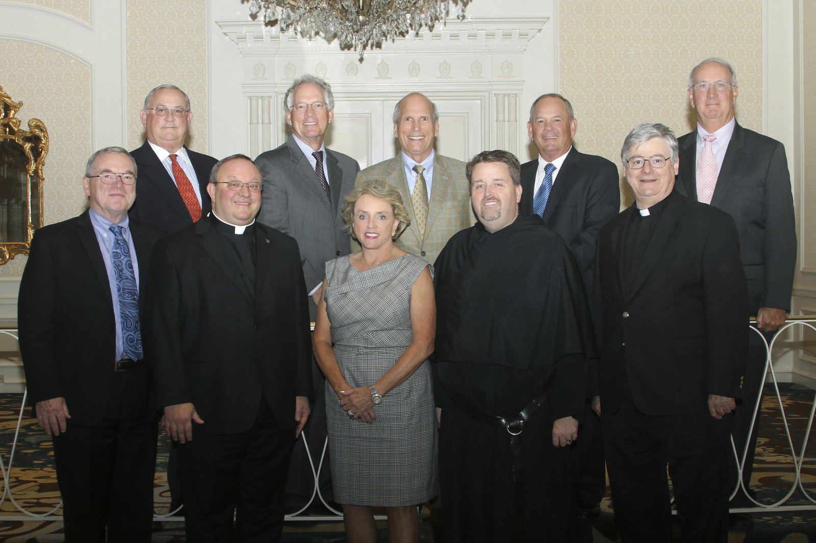 """CHICAGO, IL: Milann leads the Capital Campaign Cabinet for the Augustinians. Top row, from left: Jerry Martin, Patrick O'Connor, Don R. Berschback, Patrick J. Ormsby, Alan B. Ross, Bottom row, from left: Michael Gerrity, Very Rev. Bernard C. Scianna, O.S.A., Ph.D., Milann H. Siegfried, Rev. Thomas McCarthy, O.S.A., and Rev. R. William """"Bill"""" Sullivan, O.S.A."""