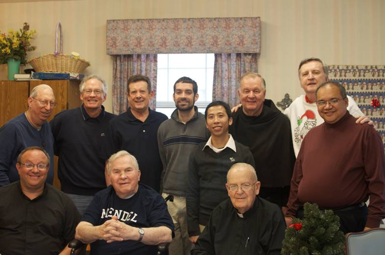 Fr. Jack Gavin, O.S.A. (front row, center) enjoyed his retirement community of Franciscan Village in Lemont, Illinois