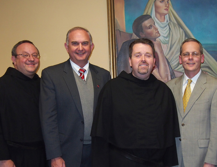 (From left):  Very Rev. Bernard C. Scianna, O.S.A., Ph.D., Prior Provincial; Ernie Mrozek, President of St. Rita of Cascia High School; Rev. Thomas R. McCarthy, O.S.A., Director of Vocations and Chairman of the Board/Chaplain of St. Rita of Cascia High School; Brendan Conroy, Principal of St. Rita of Cascia High School