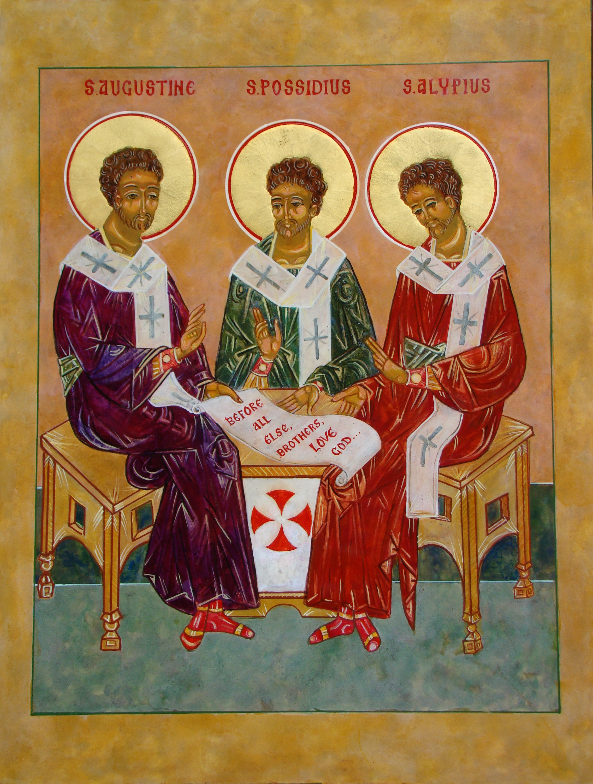 The Rev. Rich Cannuli, O.S.A., painted this icon of St. Augustine with his two friends, Sts. Possidius and Alypius, specifically for the solemn profession of vows for the Rev. Rich Young, O.S.A., on May 16, 2014