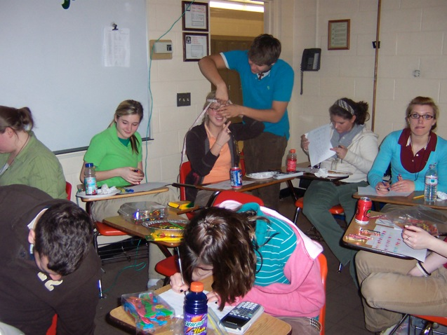Pi Day (3-14) where students were measuring diameter and circumference of various objects to determine Pi