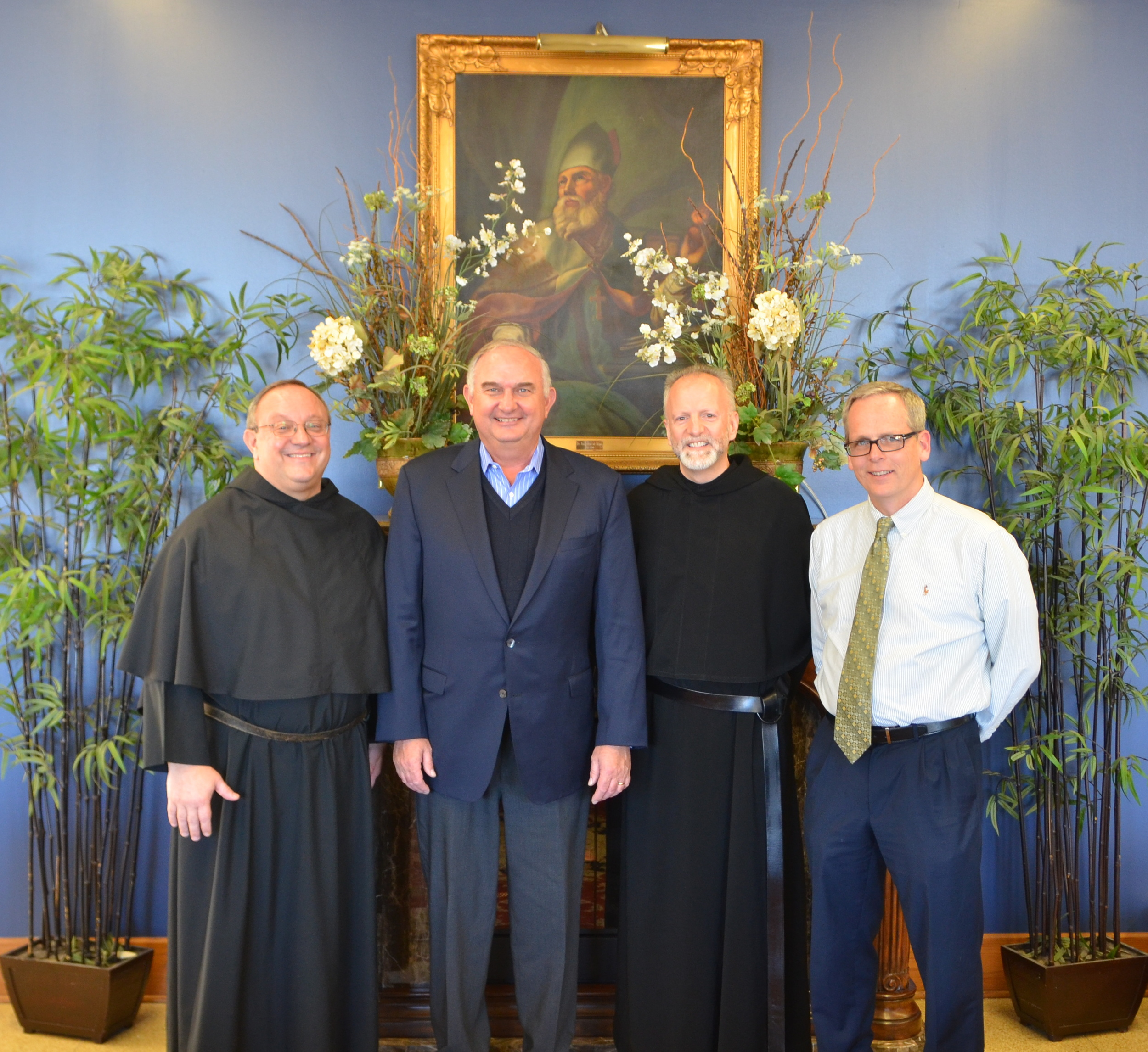 (From left)  Very Rev. Bernard C. Scianna, O.S.A., PH.D., Prior Provincial; Ernie Mrozek, President of St. Rita of Cascia High School; Fr. Steve M Curry, O.S.A., Ed.D., Director of Augustinian Mission, and Brendan Conroy, Principal