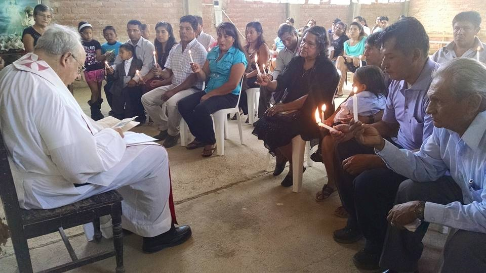 Augustinian missionary from Illinois Fr. Richard Palmer, O.S.A., presides at Mass and Baptism in one of the zones in Morropón, Peru