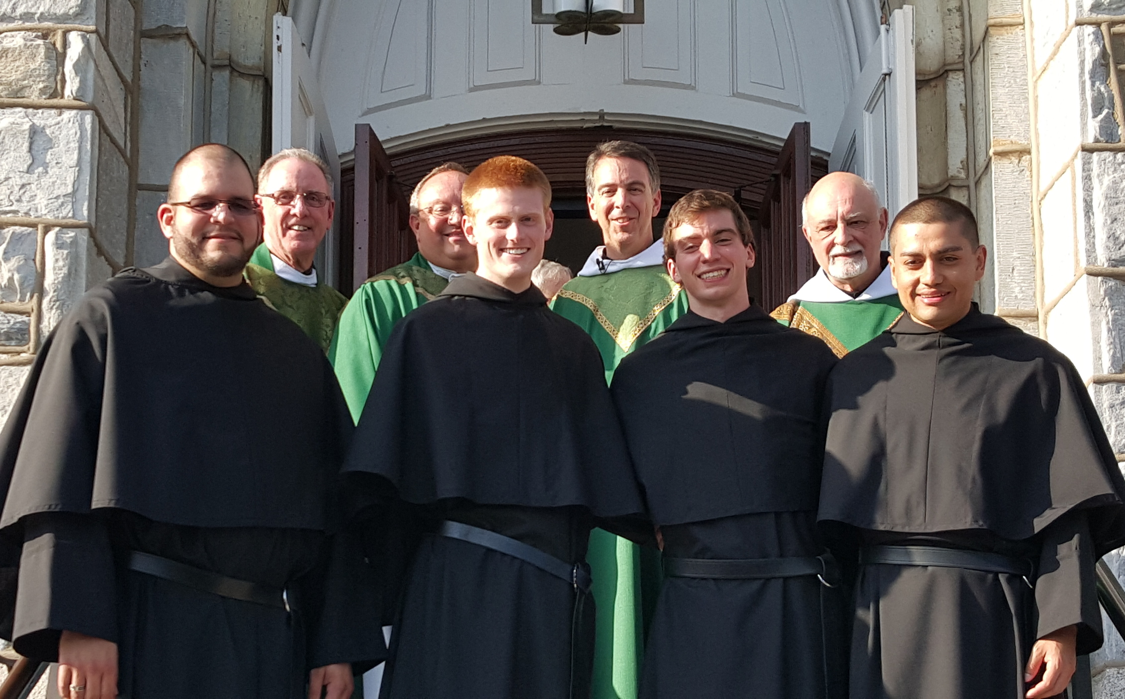 VILLANOVA, PA - We are proud to welcome the four newest professed Augustinians:   (front row, from left)  Bro. Carlos Miguel Rodríguez, OSA; Bro. Jack Tierney, OSA; Bro. Jimmy White, OSA; and Bro Javier Aguilar, OSA.  Principal concelebrants of the event:   (back row, from left)  Very Rev. Kevin C. Mullins, O.S.A.; Very Rev. Bernard C. Scianna, O.S.A.; Very Rev. Joseph Farrell, O.S.A.; and Very Rev. Michael F. DiGregorio, O.S.A.