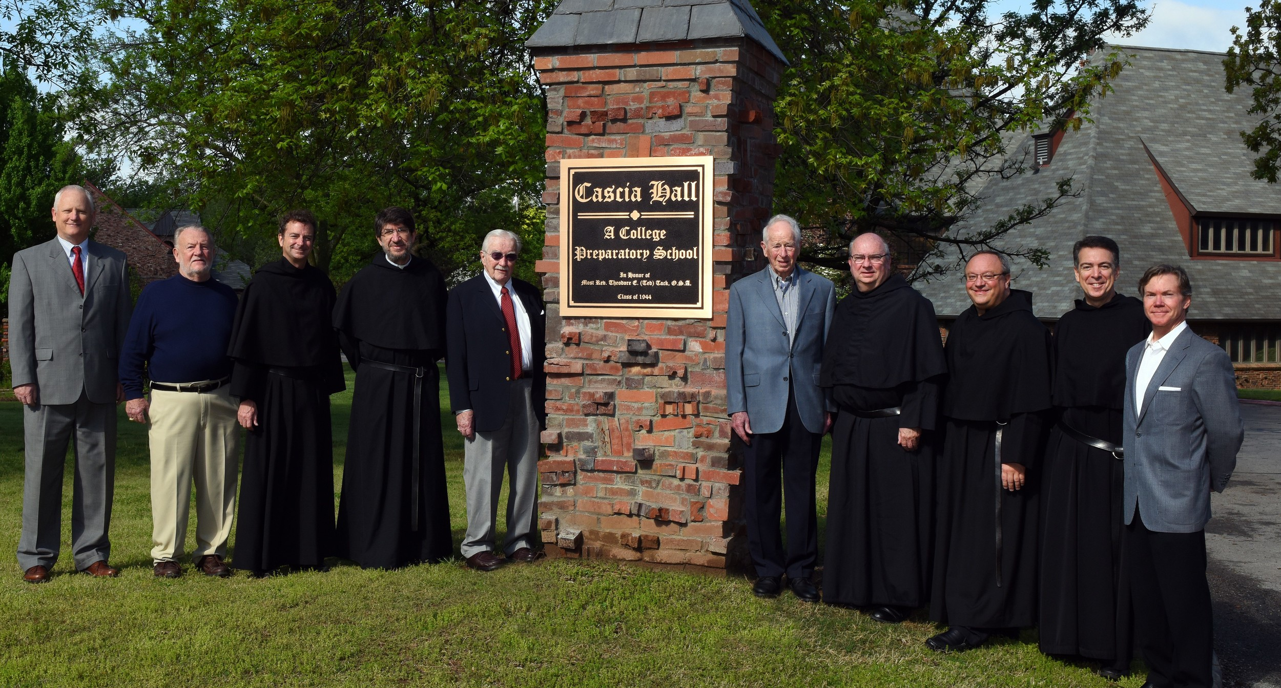 Brother Jack Hibbard, O.S.A. (fourth from right) with the Augustinian Community and Benefactors of Cascia Hall Preparatory School in Tulsa, Oklahoma