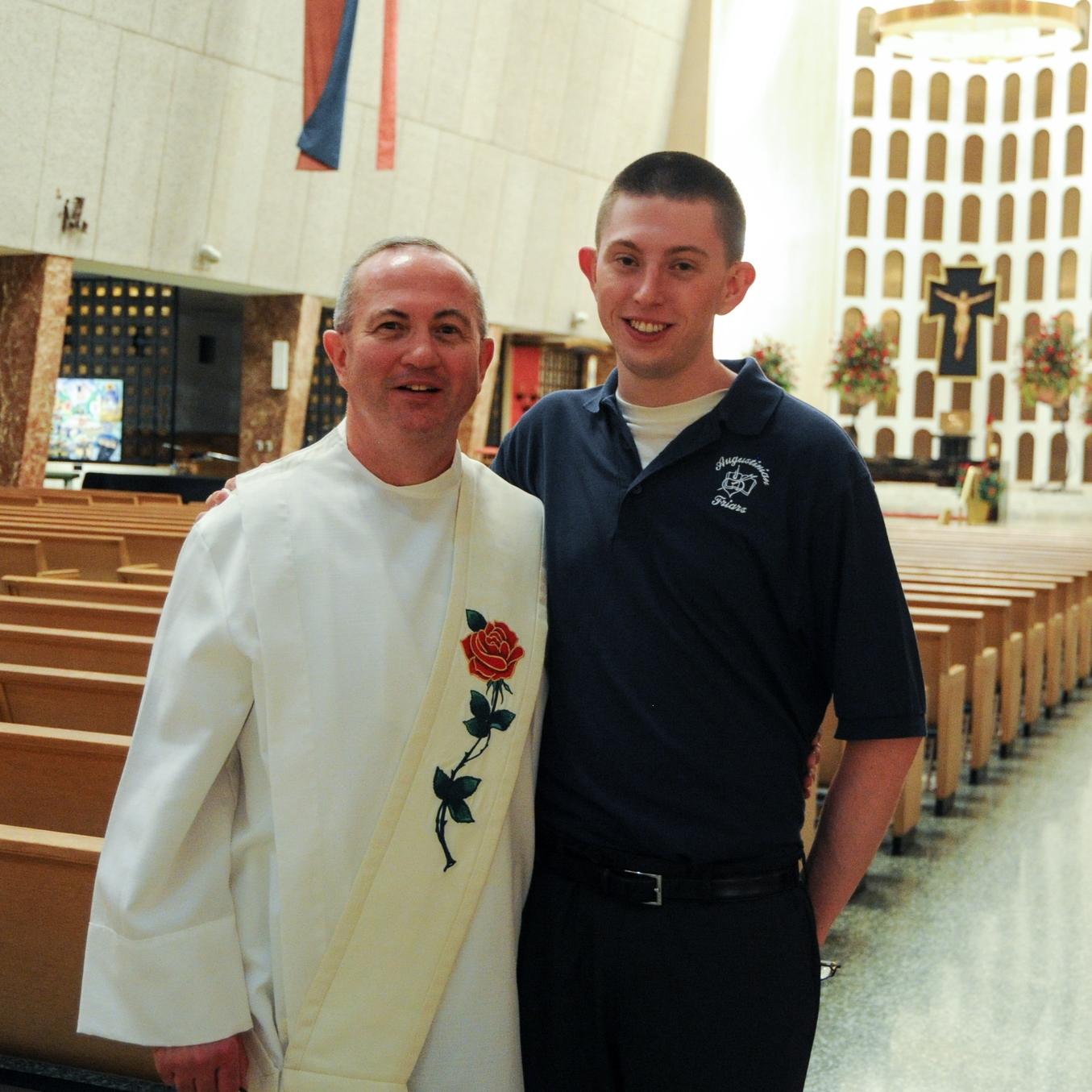 Deacon Bob Carroll with his son Bobby at St. Rita High School