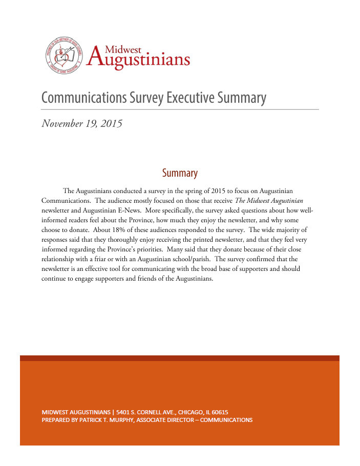Augustinian Communications Survey Executive Summary