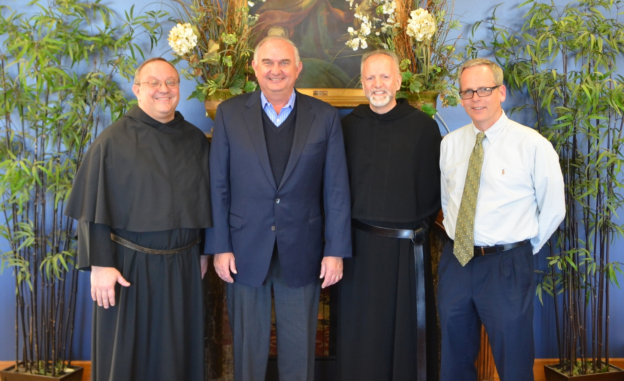 The Saint Rita of Cascia High School Leadership Team, from left: the Very Rev. Bernard C. Scianna, O.S.A., Ph.D. (Chairman of the Board) ; Ernie Mrozek  (President) ; the Rev. Stephen Curry, O.S.A., Ed.D. (Director of Augustinian Mission) ; and Brendan Conroy  (Principal)
