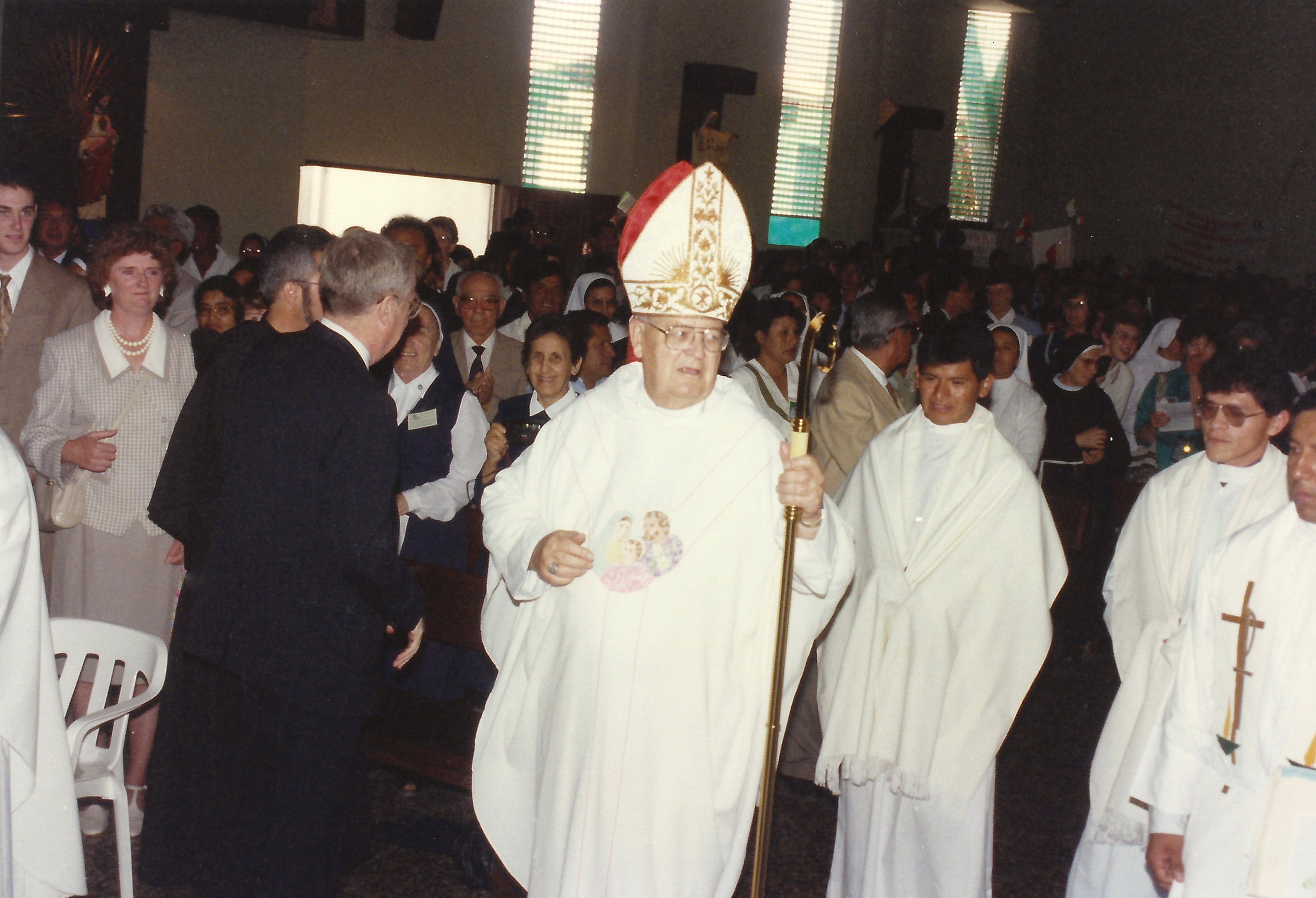 The late Bishop John McNabb, O.S.A., processing into Mass at the Holy Family Cathedral in Chulucanas, Peru