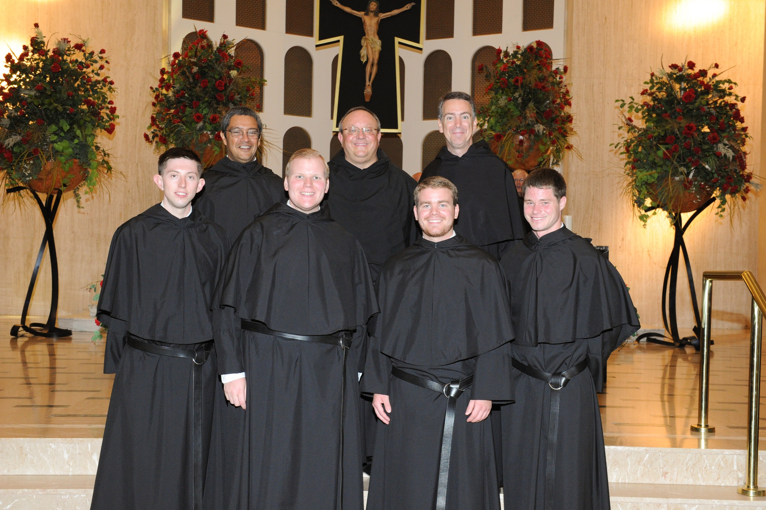 Fr. Bernie Scianna, O.S.A., with newly professed friars of the Midwest Province of Augustinians
