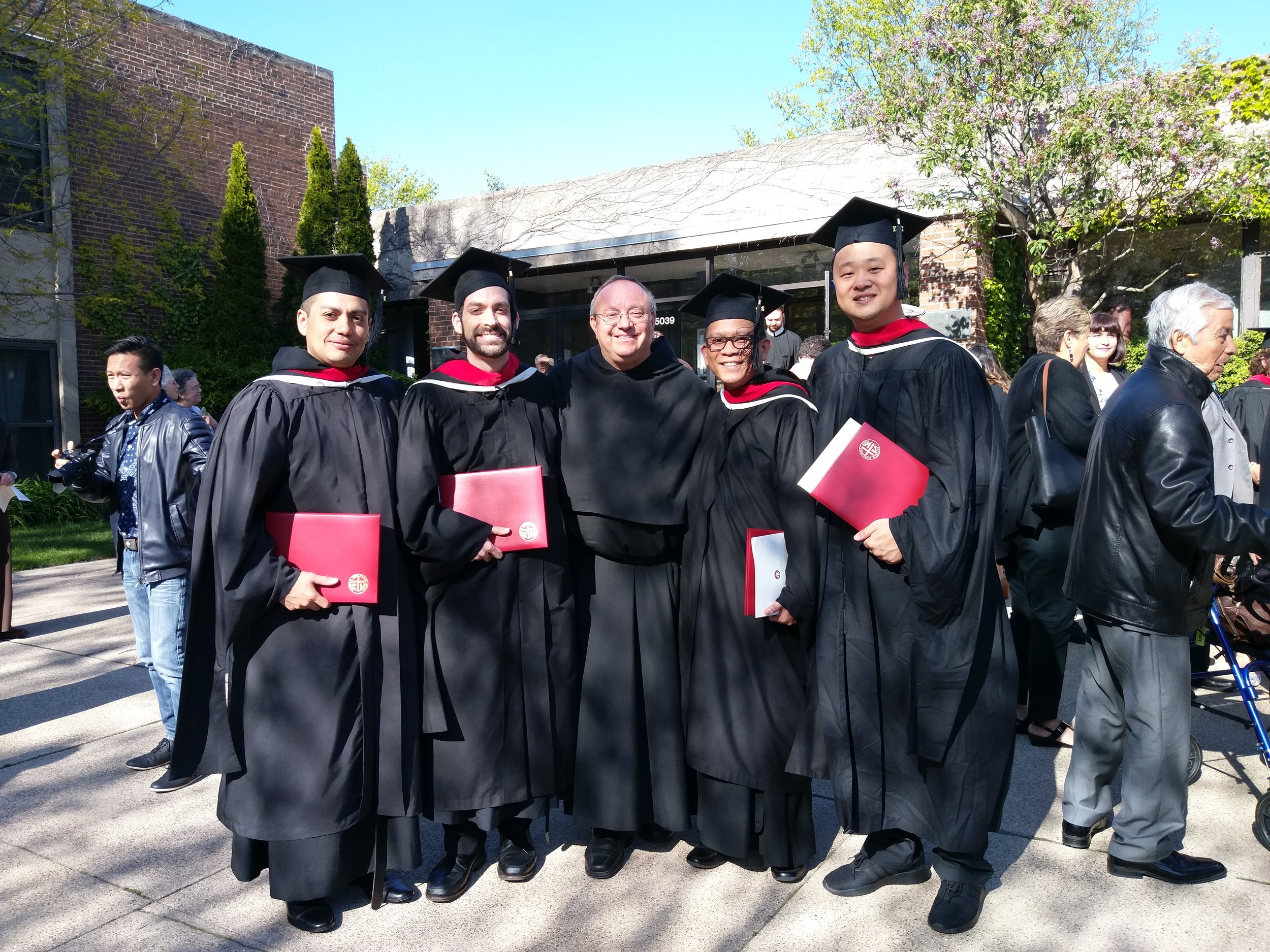 (from L to R): Br. Javier Aguilar, Br. Stephen Isley, Fr. Bernie Scianna, Br. Aldo Potencia, and Br. Philip Yang, OSA.