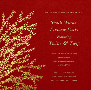 Shain Gallery's 2nd Annual Small Works Preview Party Flier