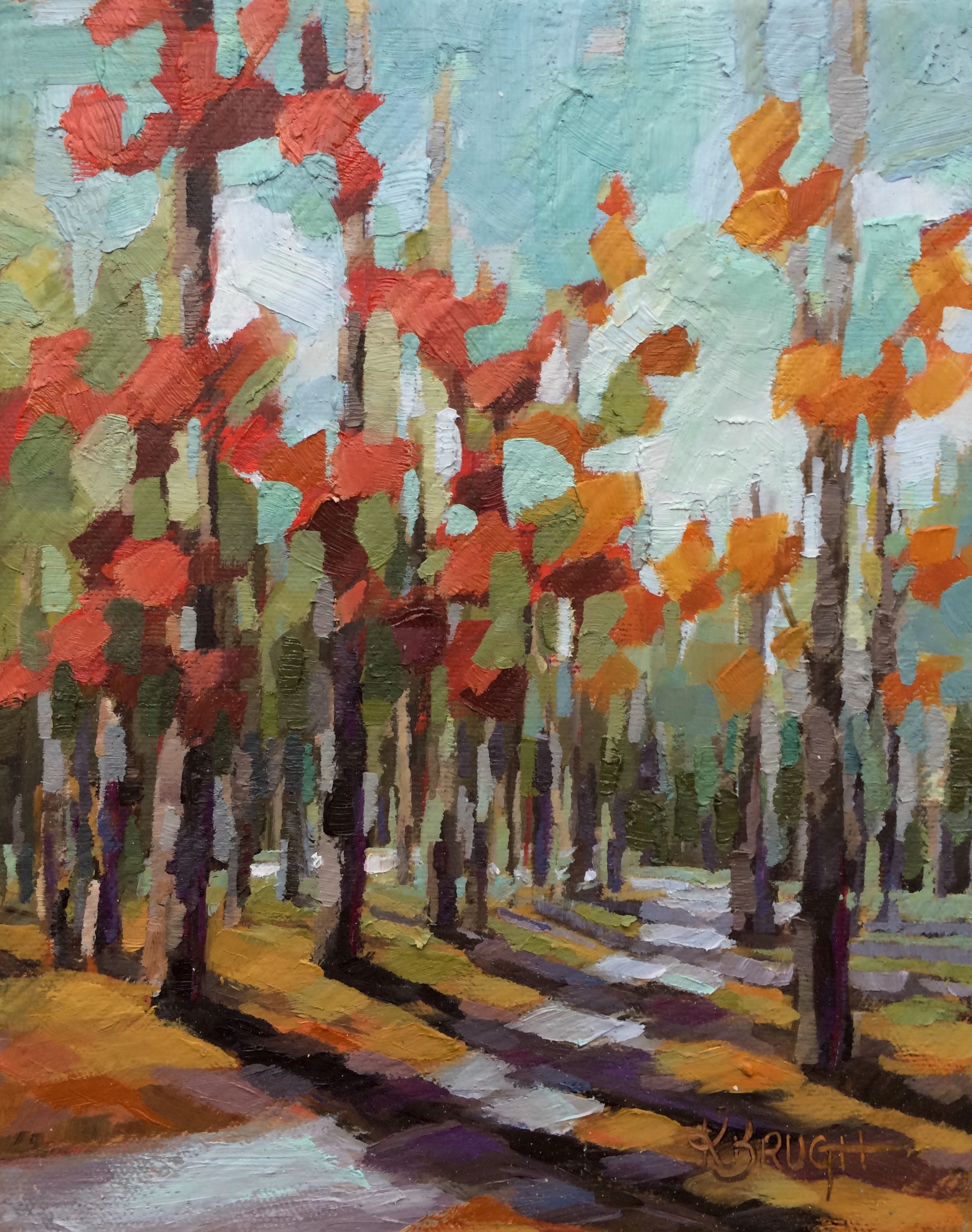 Autumn at Freedom Park by Kelley Brugh, 8x10, Oil on canvas New painting inspired by a family stroll through Freedom Park.