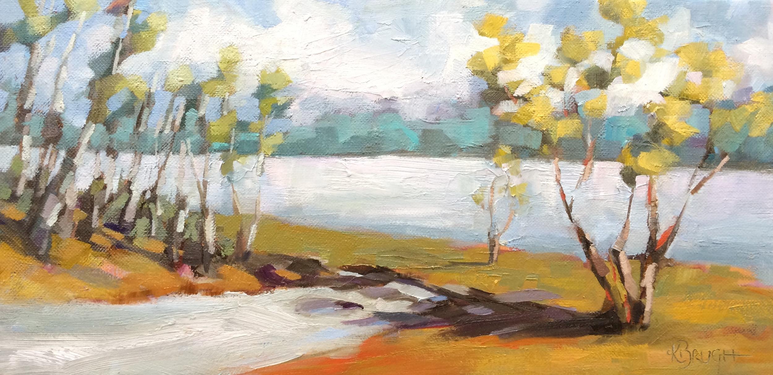 Kelley Brugh_Lake Stroll_8x16, Oil on canvas.JPG