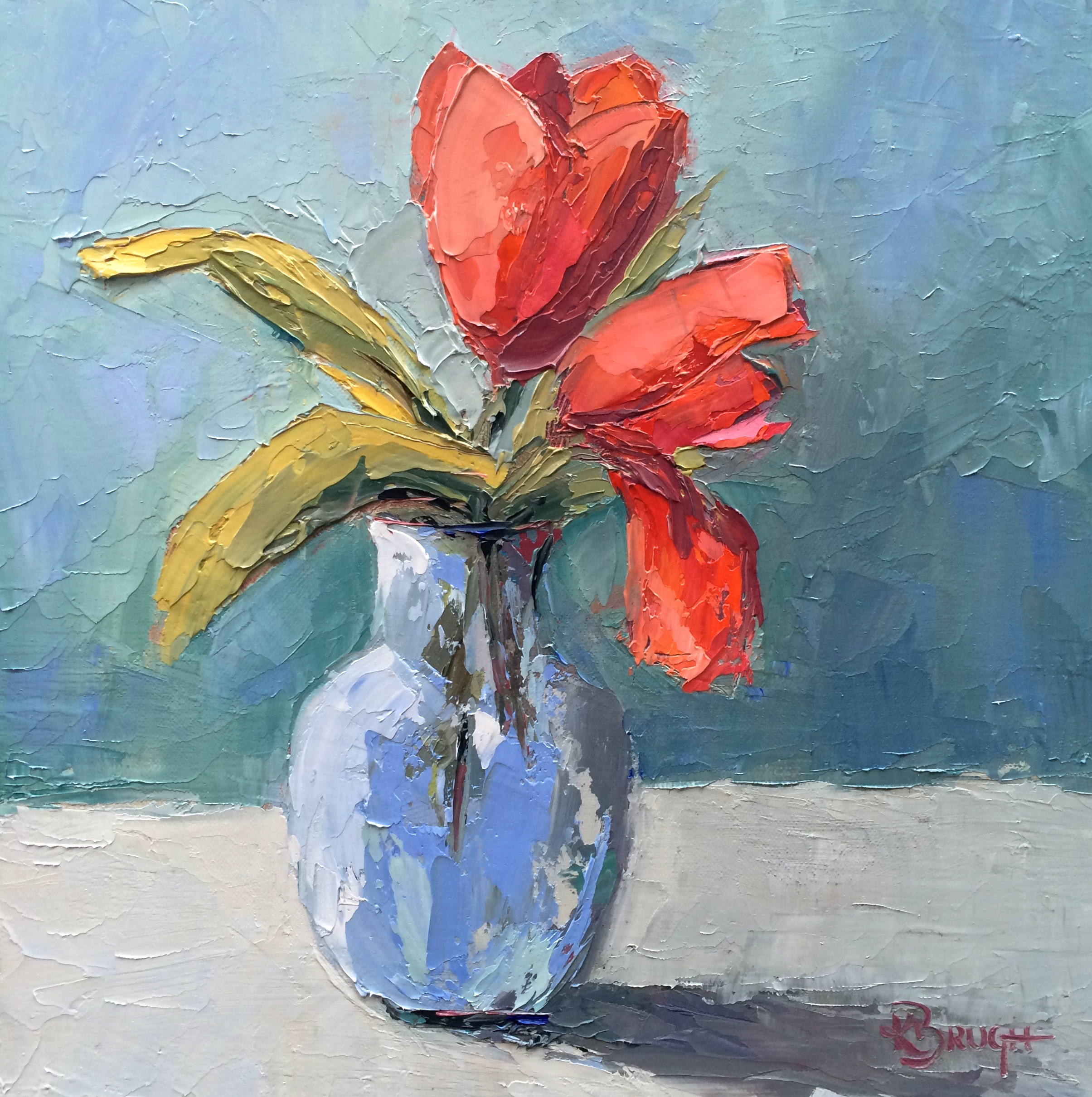 Two Tulips  by Kelley Brugh, 12x12 oil on canvas