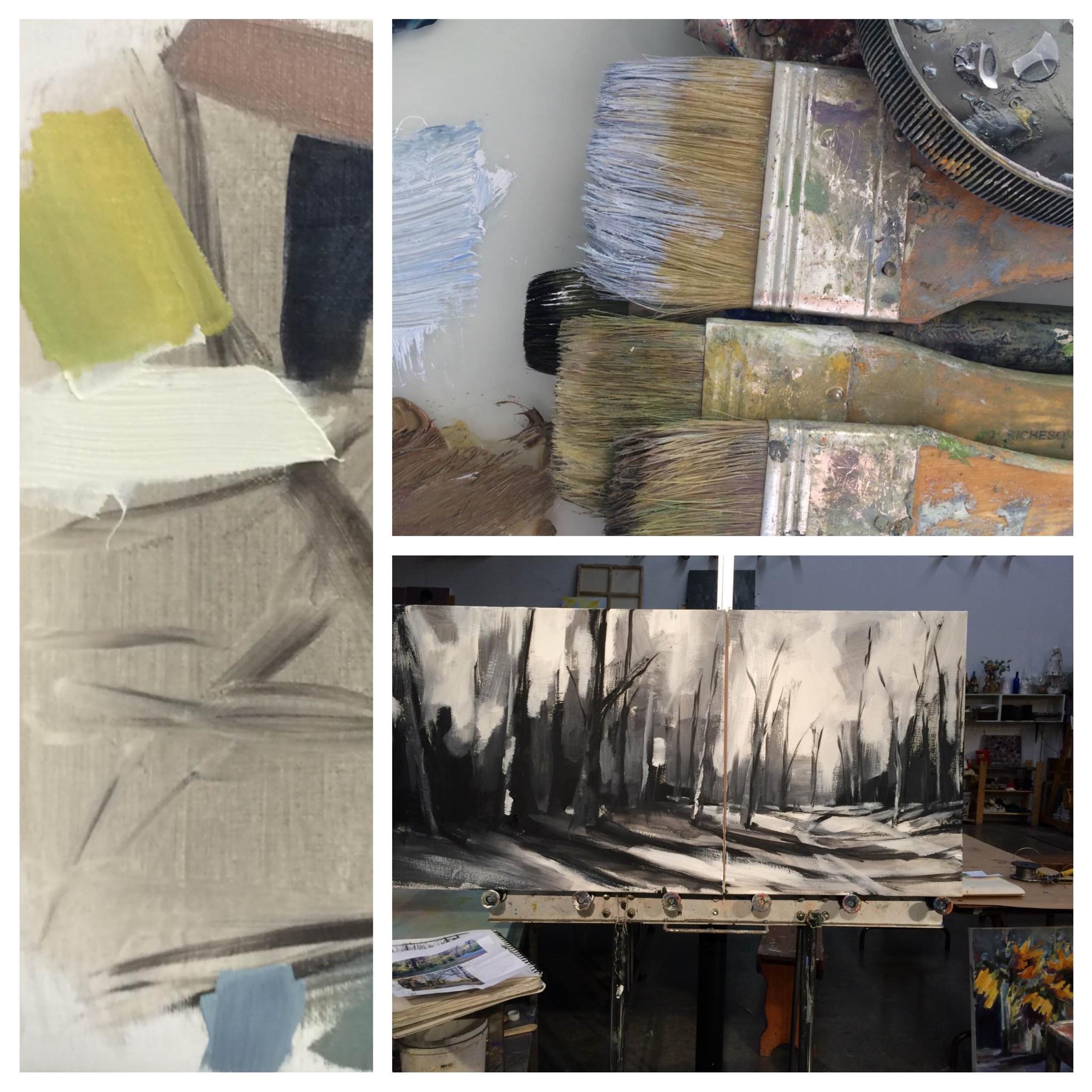 Winter color studies and paintings in progress! #throwbackthursday #kelleybrughfineart #oilpaintings