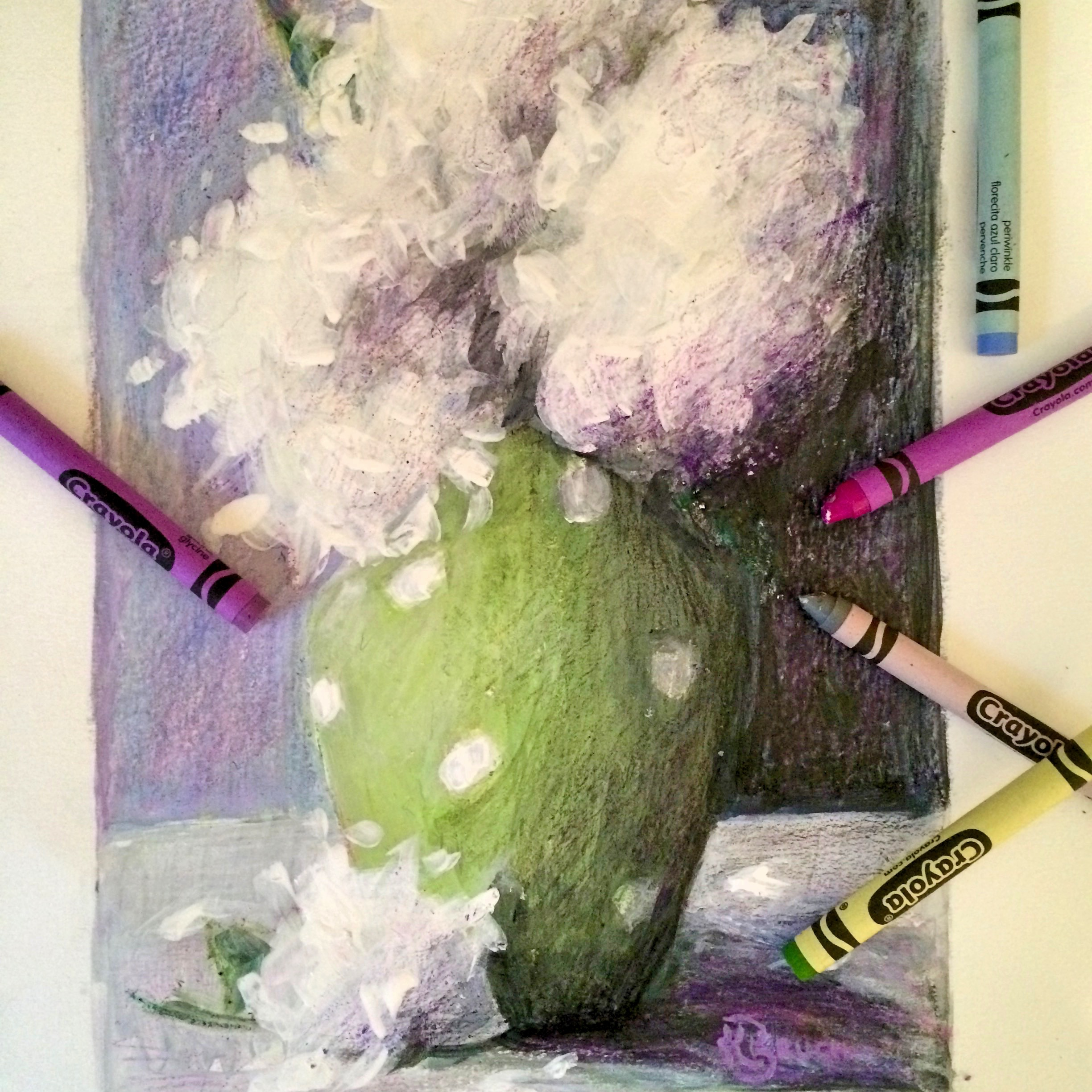 Close up of 11x14 crayon and mixed media on paper artwork in progress by kelley brugh