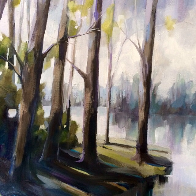 Close up of my new lake painting! #kelleybrughfineart #oilpainting #landscape #charlotteart #wip #lake