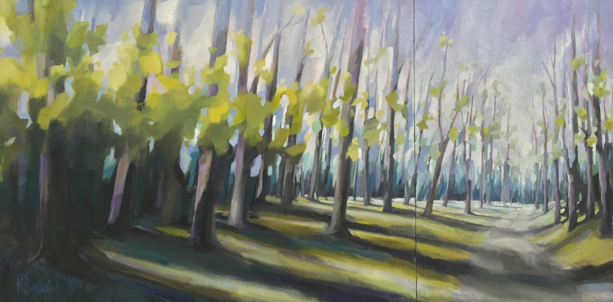 North Carolina Trail by Kelley Brugh 36x72, Oil on canvas  SOLD