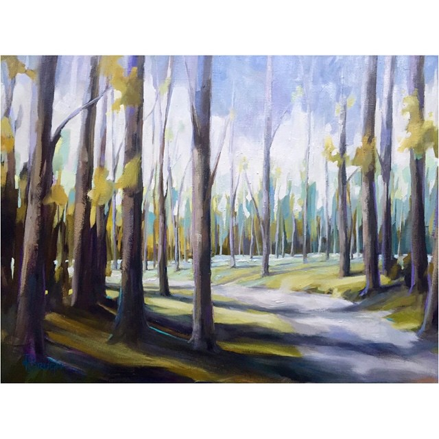 Tomorrow at Tyler White O'Brien Gallery: New artwork, new show, live demo!  Wildreness Trail by Kelley Brugh, 36x48 oil on canvas #kelleybrughfineart #tylerwhiteobriengallery #landscape #forest #oilpainting #charlotteart