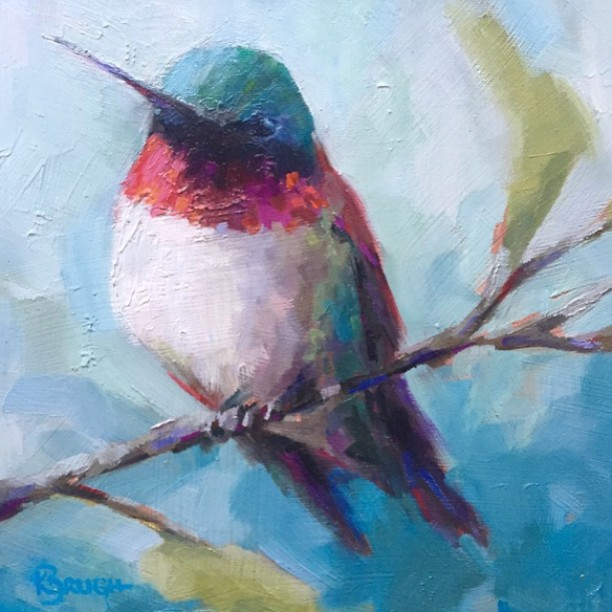 So glad this little guy found a happy home! Ruby Red by Kelley Brugh, 12x12, oil on canvas SOLD #hummingbird #oilpainting #charlotteart #kelleybrughfineart
