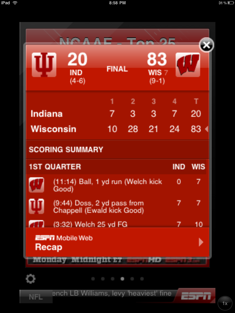 P.S. - the iPad version of the ESPN app blows. That's why I use the iPhone version...   Sent from my iPad