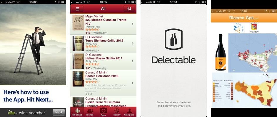 Quattro app per smartphone. Da sinistra: Wine-Searcher, Vivino, Delectable, WineCode