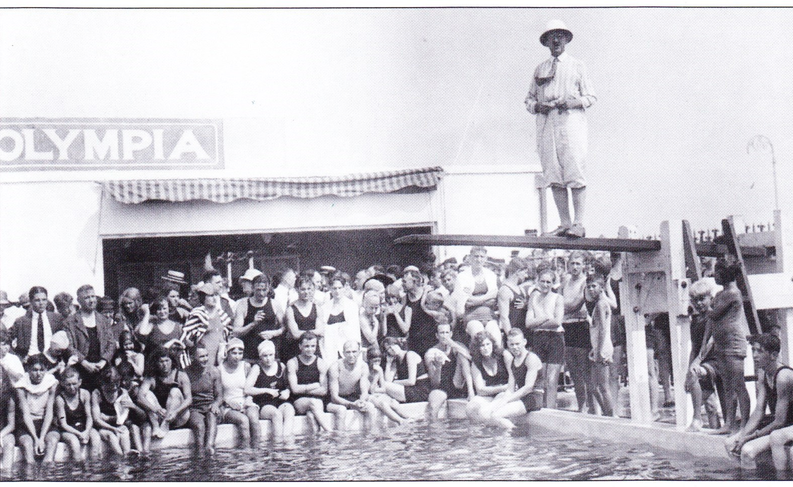 Olympia Pool in the 1930's. Boardwalk and Grand Blvd