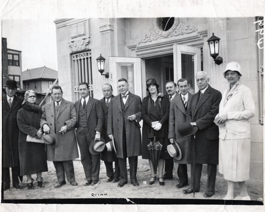 LONG BEACH PUBLIC LIBRARY 1928 OCTOBER  L-R MR. & MRS. TOM COOKE H. SCHLUTZ, L. STURM, JUDGE WEG MAYOR DALTON, MRS. WALDMAN A. EHRLICH, A. WELMTE, E. STEVENS, EDITH JOHN LIBRARIAN.jpg