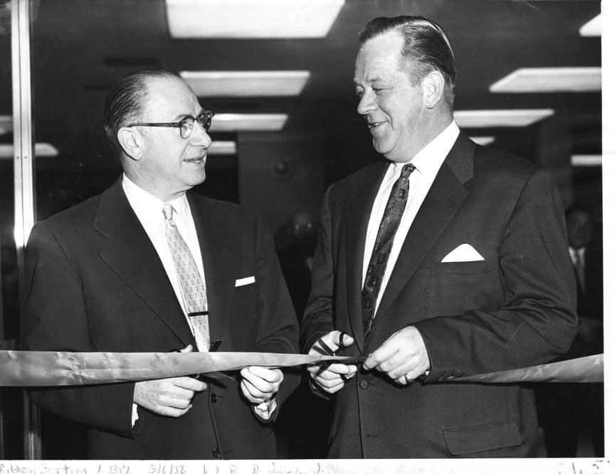LONG BEACH PUBLIC LIBRARY 1956  RIBBON CUTTING MARCH 6 DR. J.J. BLINN,  PRES. BOARD FRITZ COSTIGAN BOARD OF ED..jpg