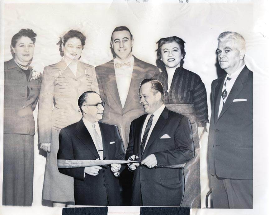 LONG BEACH PUBLIC LIBRARY 1956 OPENING DAY MARCH 6 L-R MARION A. SEAGRIFF, DIRECTOR VERA FATJO, LESTER A. LEWIN, MARGARET B. FELL, ROBERT L. ANDREWS.jpg