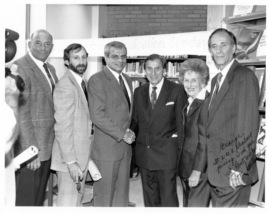 LONG BEACH PUBLIC LIBRARY HOLOCAUST COLL DEDICATION L-R H. WEISENBERG, G. TREPP, T. GULOTTA, DR.ROBBINS, P. WEIL, J. FLEICHMAN.jpg