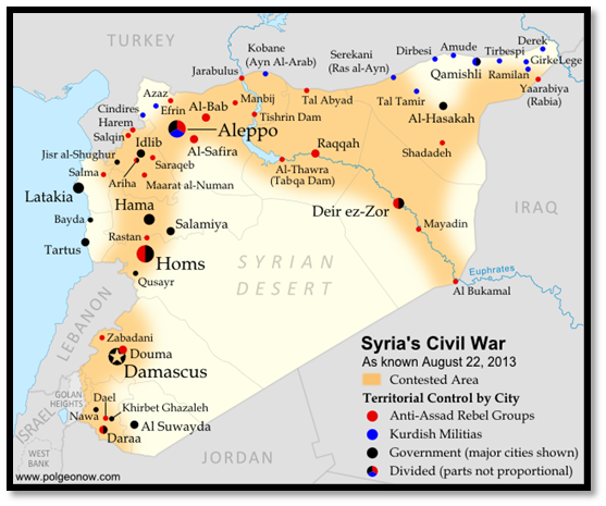 Map displaying the spread of the Syrian Civil War as of August 22, 2013 and the areas of control for the Assad government, anti-Assad Rebel Groups, and the Kurdish Militias.