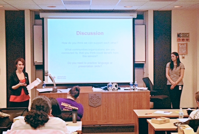 Whitney Trumble (left) and Michelle McSweeney (right) lead student discussion.
