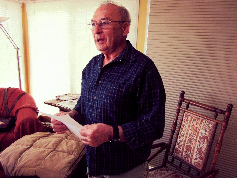George Kantor in his Denver home meeting with   Restoring Family Links volunteers  .