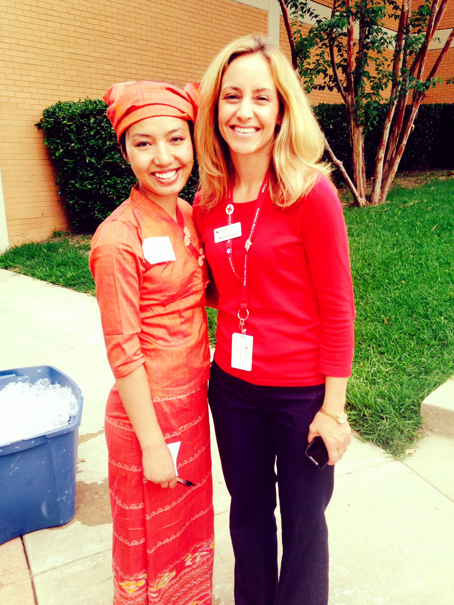 Alexis Chase with Nanja, an active volunteer within the Burmese community in Dallas