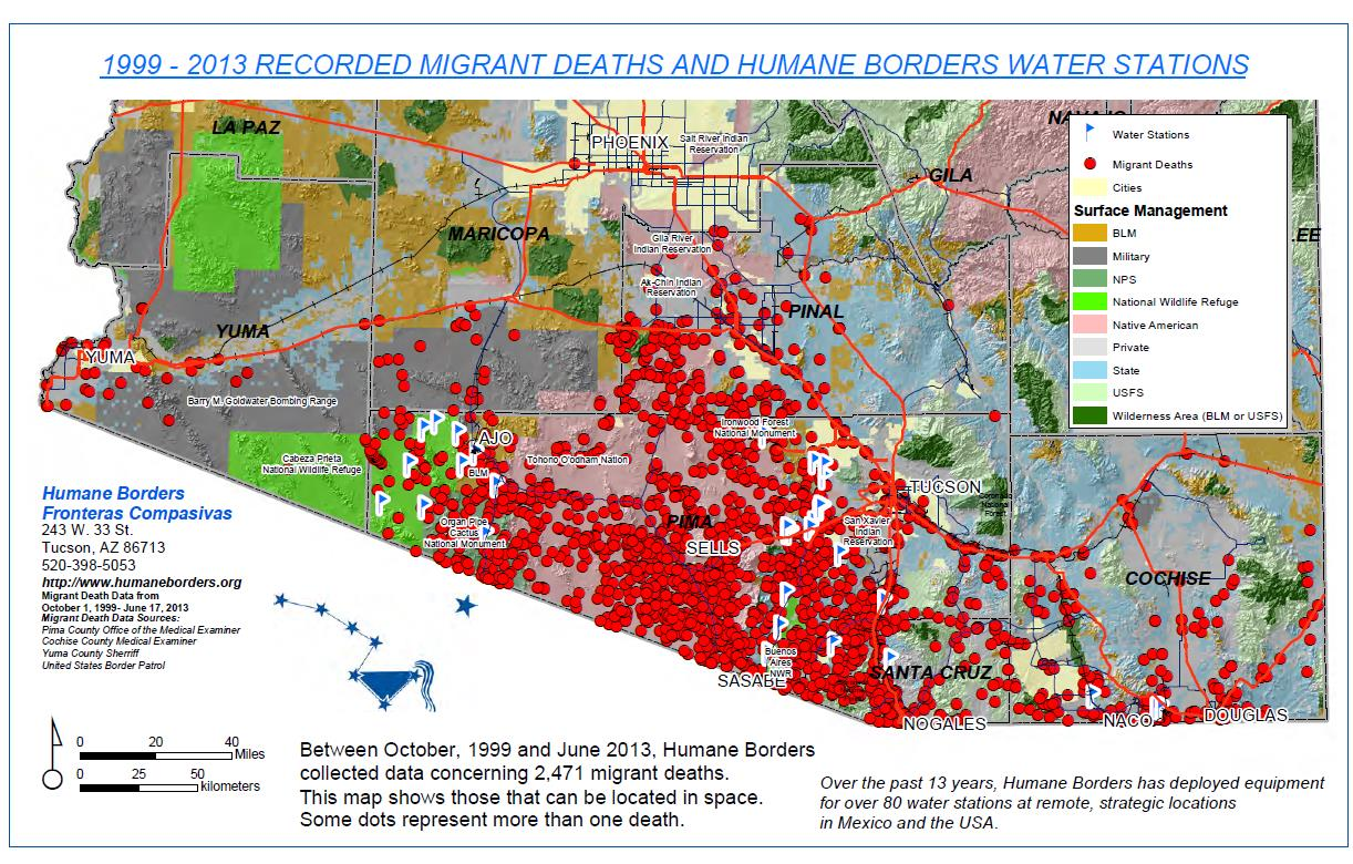 A map produced by humanitarian group Humane Borders. Each red dot represents a migrant who has died attempting to cross, this map shows the data for 2,471 recovered remains found in Arizona between 1999 and 2013