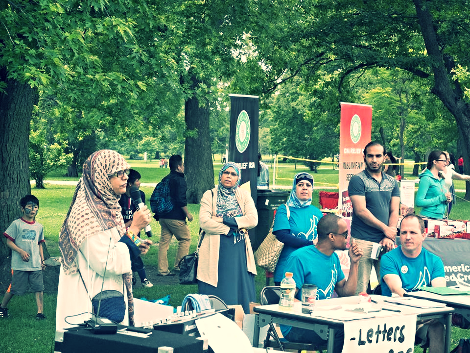 A representative from ICNA speaks about the importance of supporting refugees.