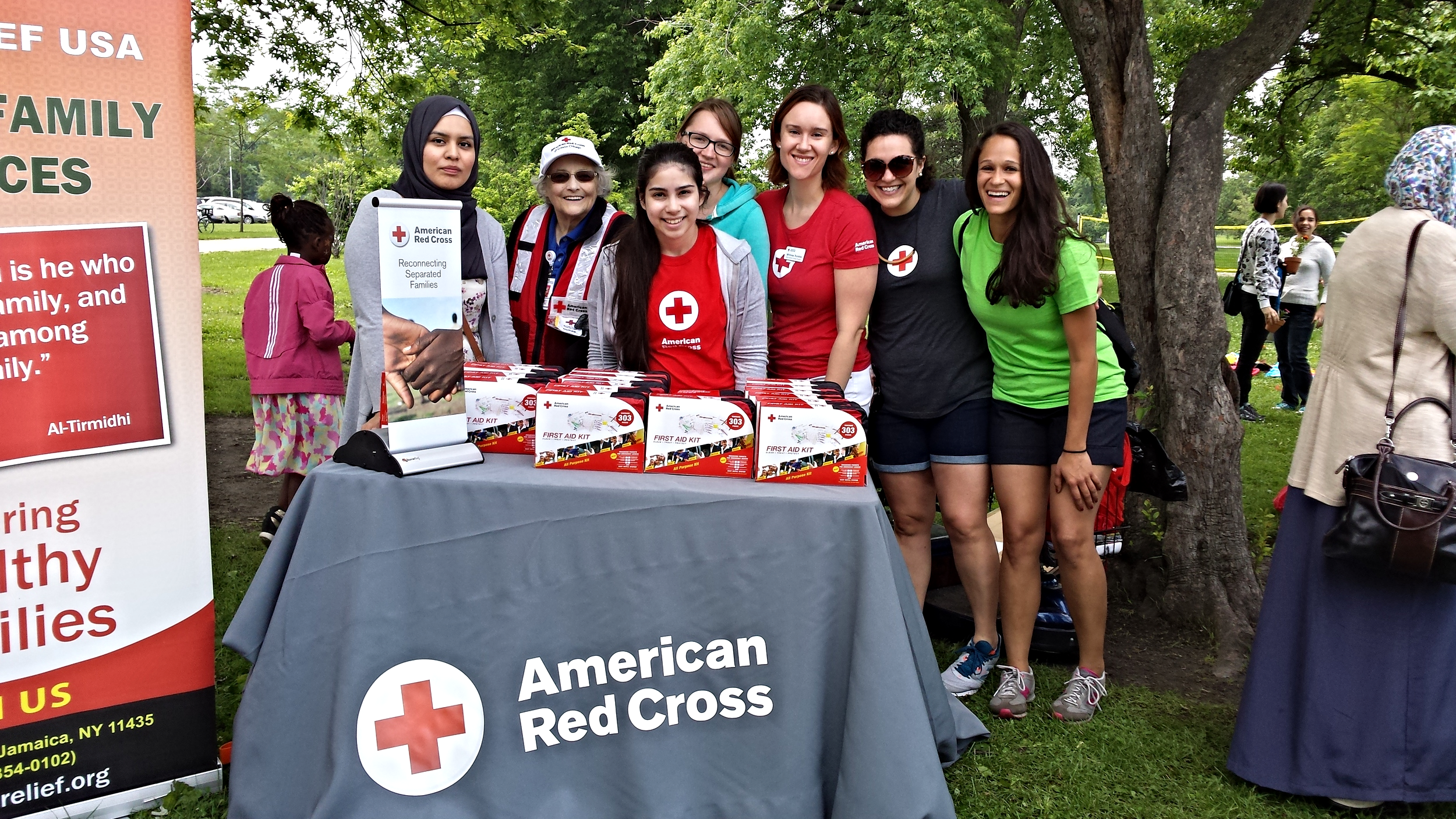 Red Cross staff and volunteers promote the organization's reconnecting families services.